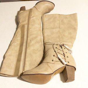Torrid Boots Womens 13w 13 Wide Tan Knee Side Lace